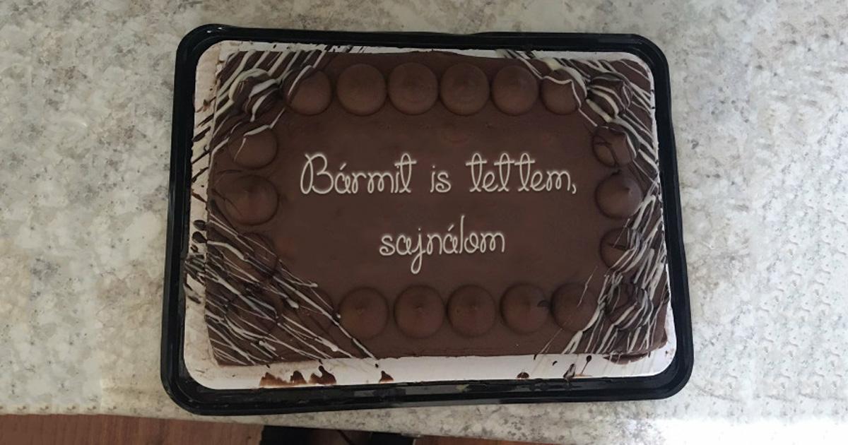 Sajnálom torta Facebook