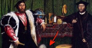 Holbein Követek optikai illúzió