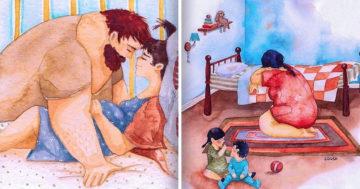 Családi szeretet illusztráció