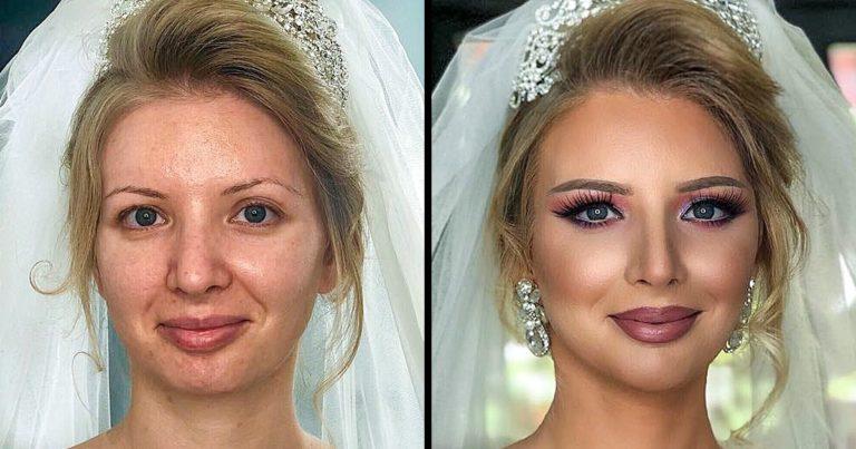 Esküvői sminkek előtt és után