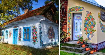 Zalipie virágokkal borított házak