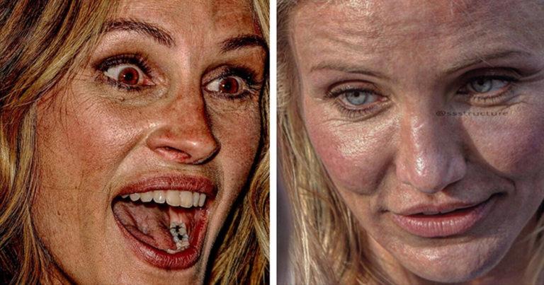 Hollywoodi színésznők arca közelről