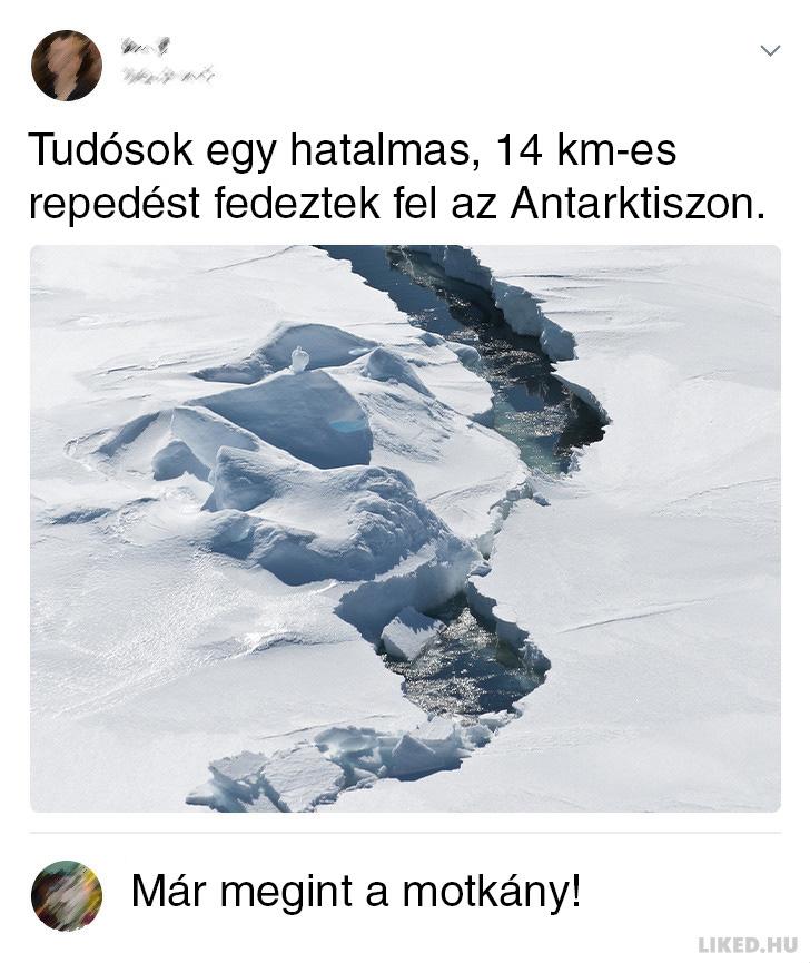 Repedes az antarktiszon