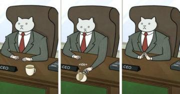 Humoros macskás illusztrációk