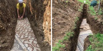 Ókori római mozaik padló Olaszországban