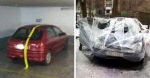 Bénán parkoló emberek fail