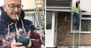 Rossz házat festő munkás
