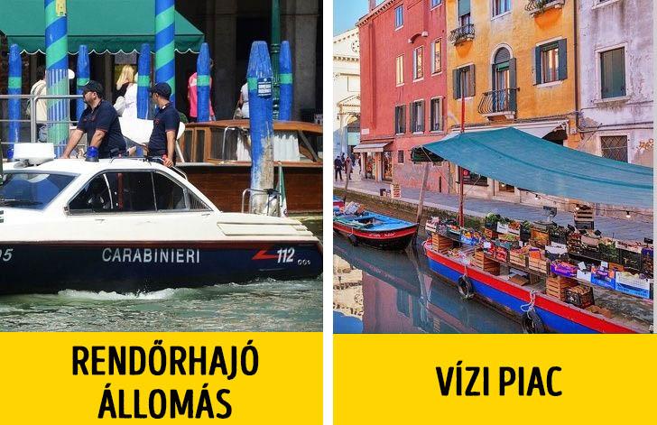 Velence rendőrök és piac