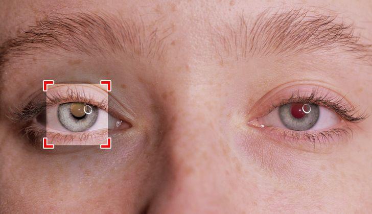 Vöröses szem a fotókon